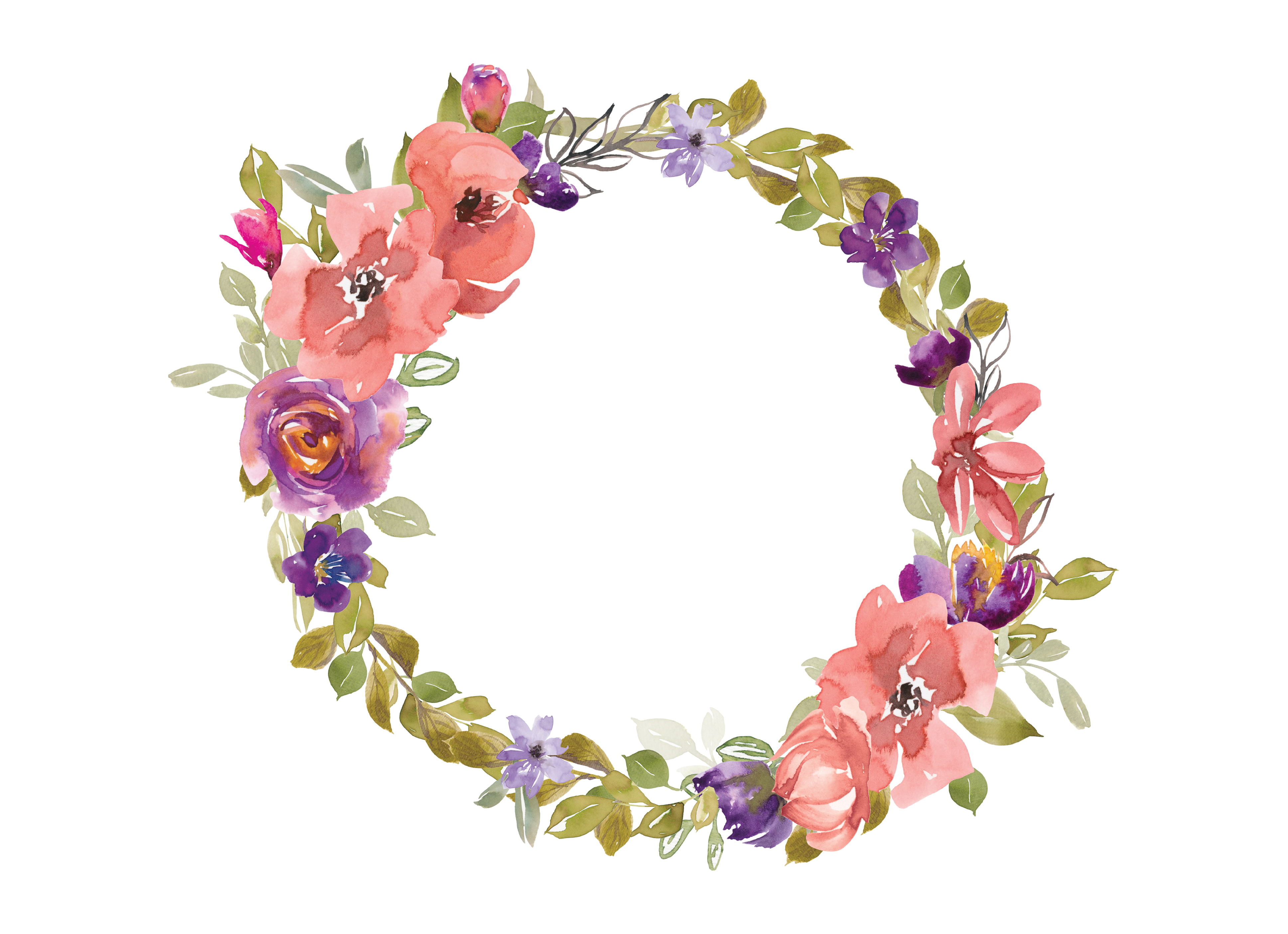 svg royalty free stock Flower wreath clipart. Watercolor salmon and purple