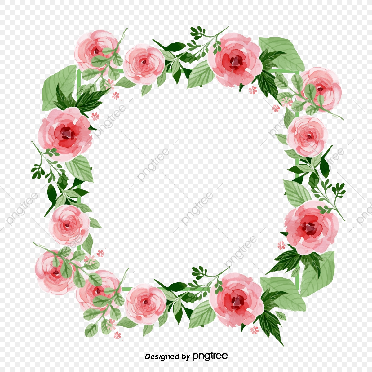 image freeuse library Flower wreath clipart. Frame square pink green