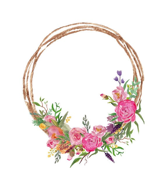 png freeuse stock Watercolor pink flowers with. Flower wreath clipart