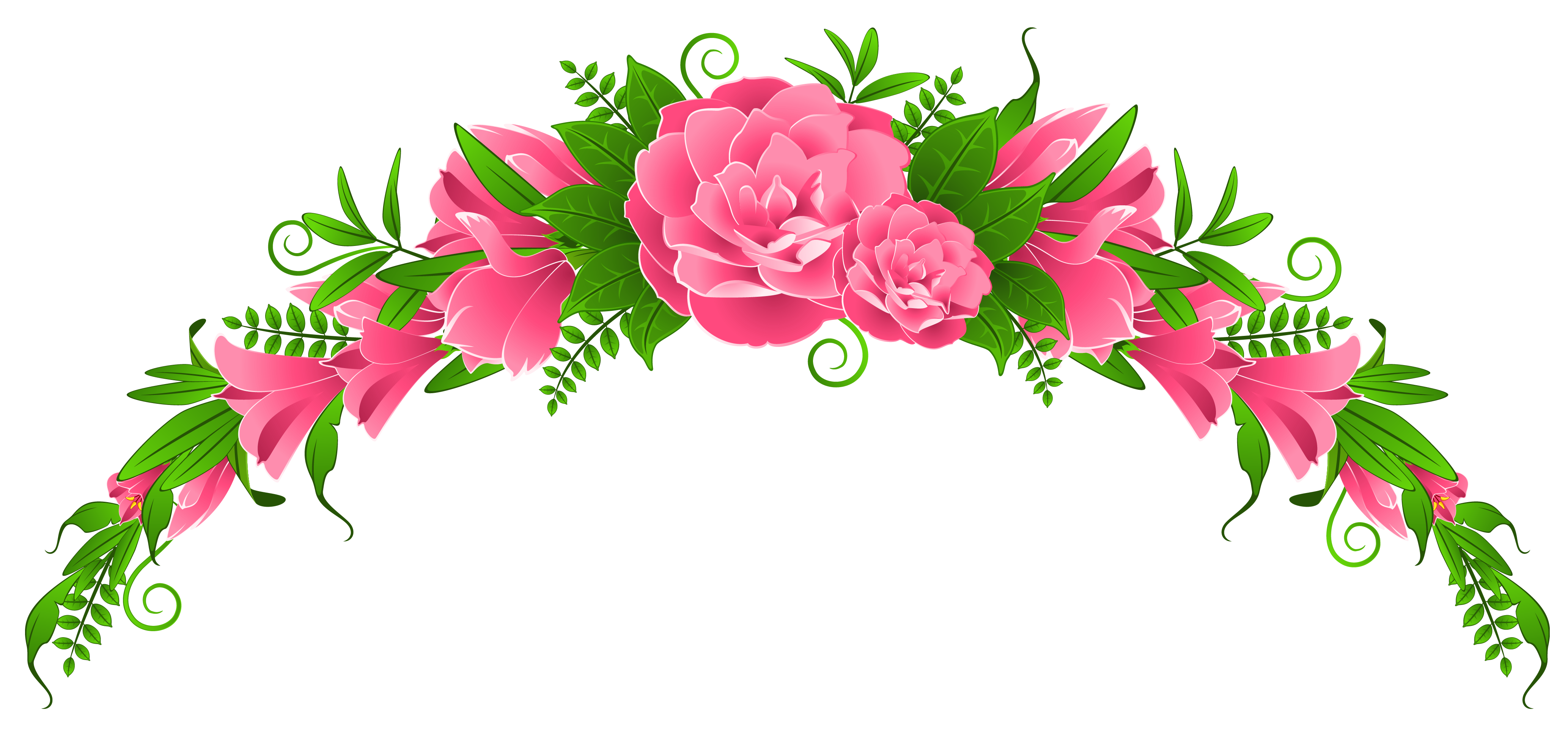 svg black and white stock Pink and roses element. Flowers clipart.