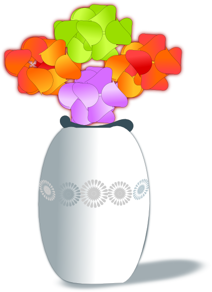 library Flowers in clip art. Glass vase clipart