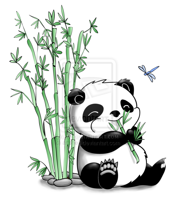 clip freeuse library Panda Eating Bamboo by artshell