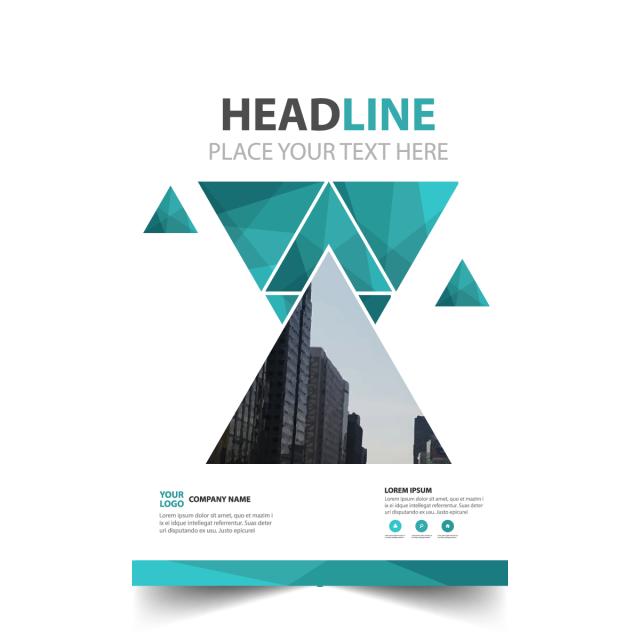 vector free stock Green triangle annual report brochure flyer design vector Template