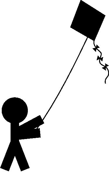 freeuse stock Child silhouette clip art. Flying kite clipart