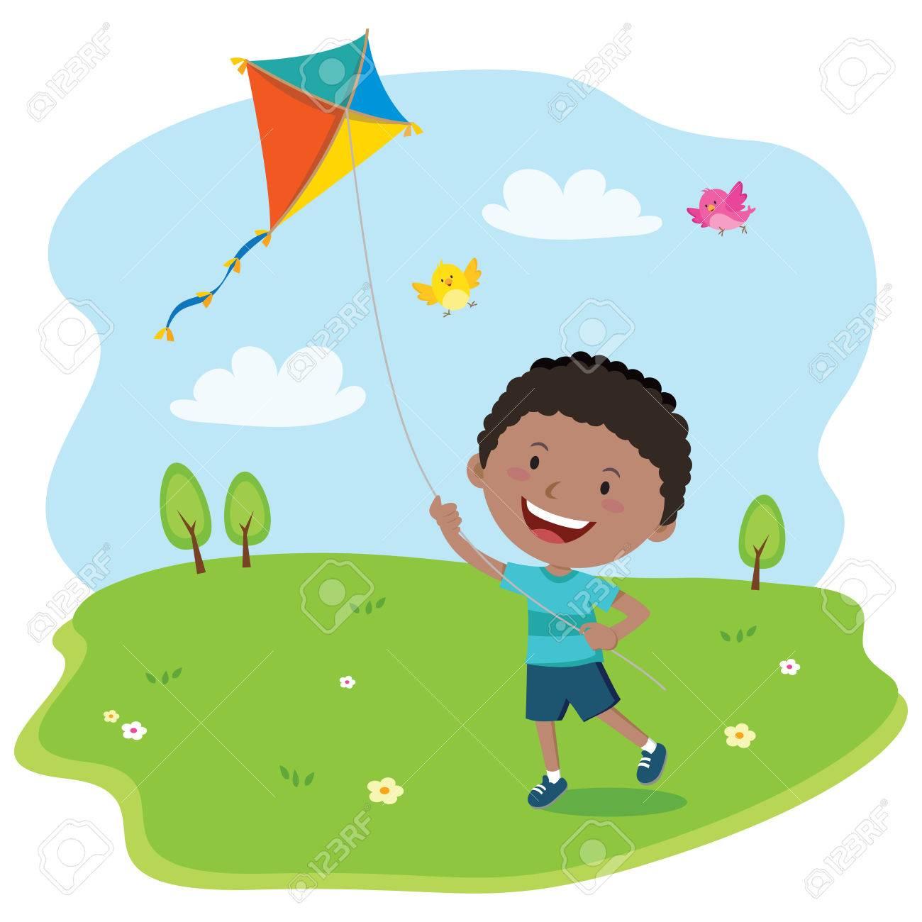 jpg black and white stock Boy a portal . Flying kite clipart