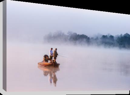 image black and white stock Fishing on Foggy Lake