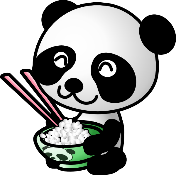 clip art royalty free library Asian panda eating rice. Food clipart