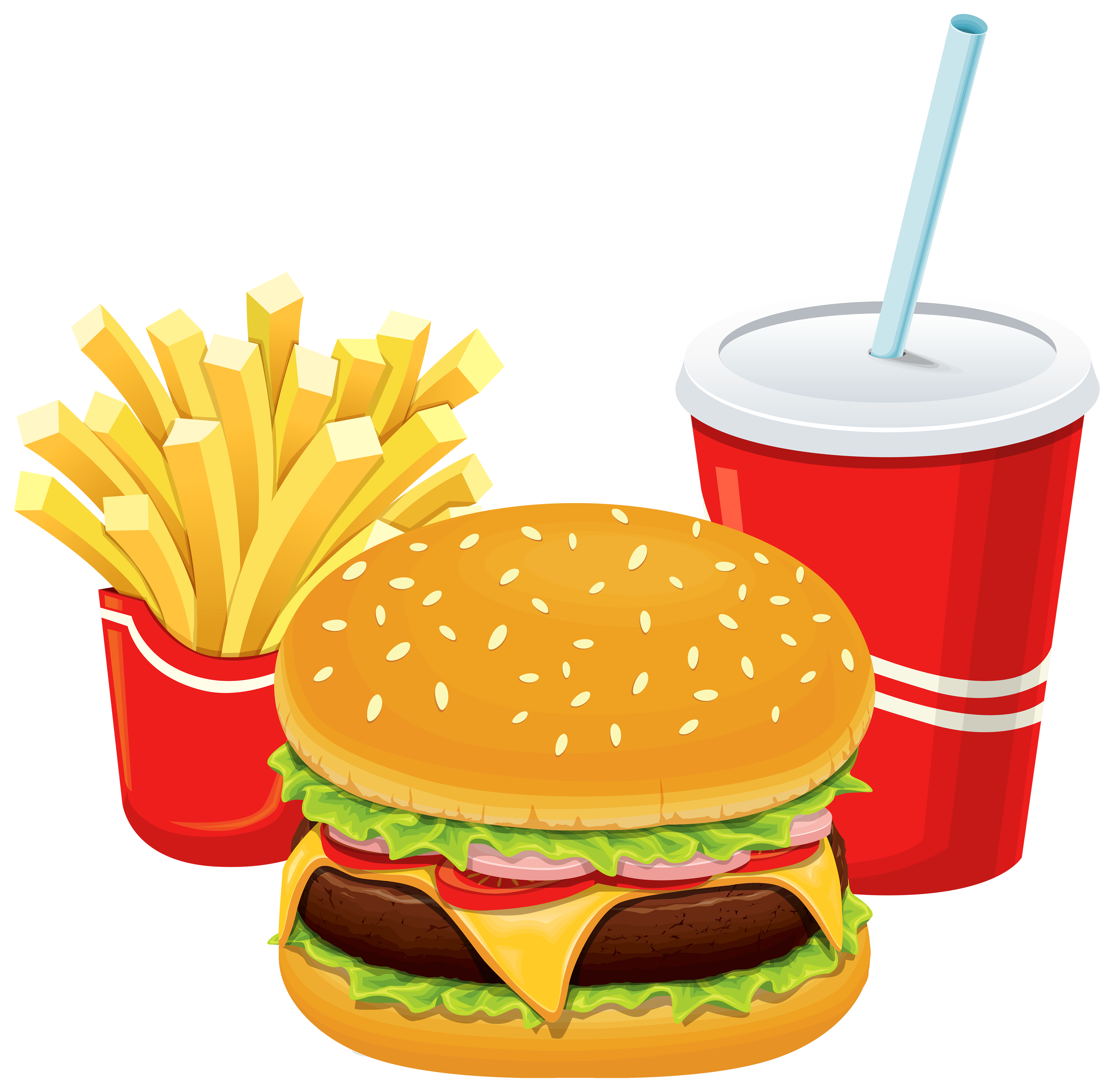 svg stock Junk clipart unhealthy diet. Hamburger fries and cola.