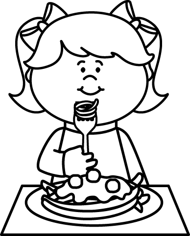 picture black and white library Kid eating spaghetti coloring. Snack clipart black and white