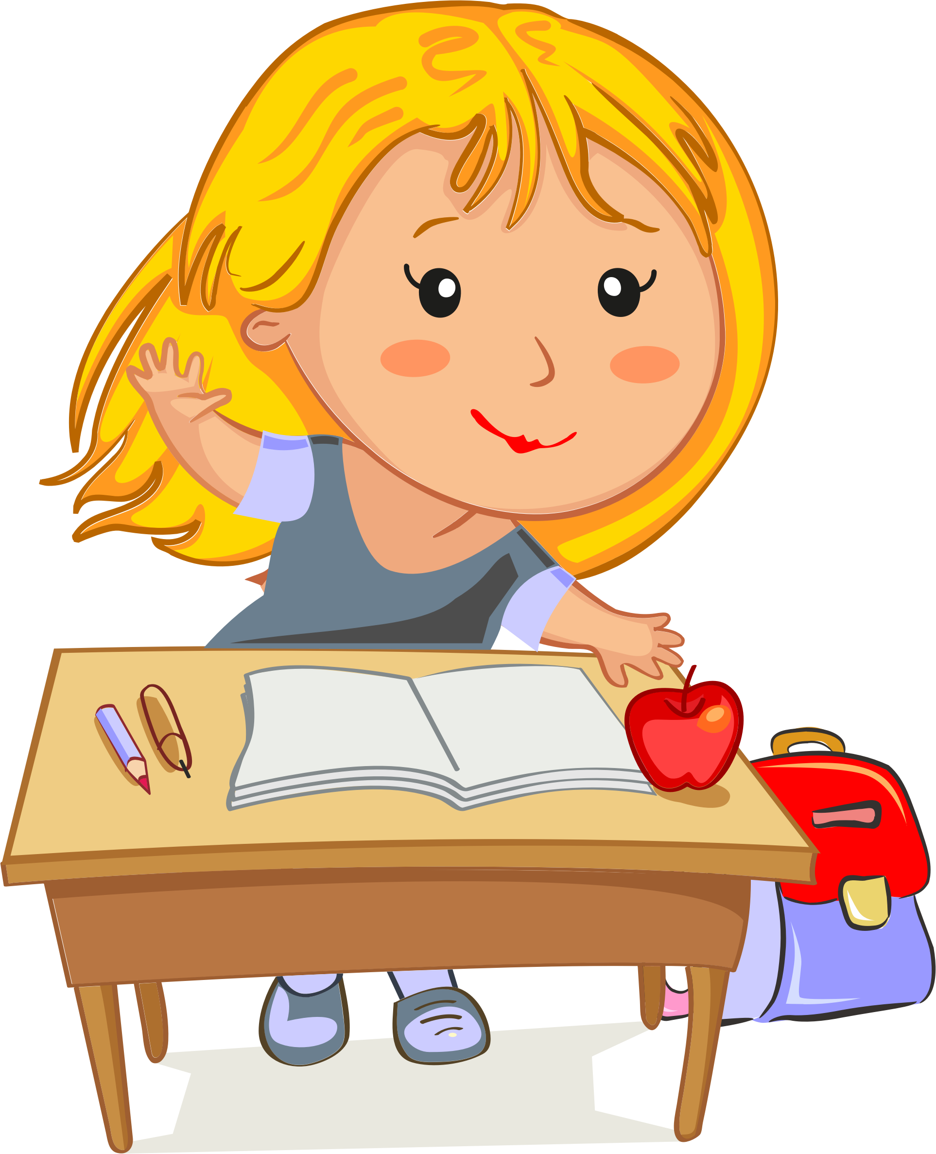 svg freeuse library Blonde girl raising hand. For her clipart