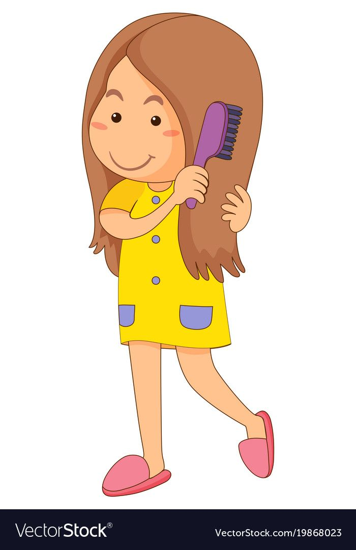 picture black and white For her clipart girl combing. Little hair royalty free