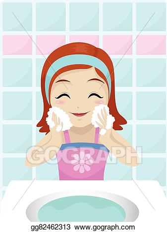 clip free For her clipart washing. Vector stock girl face