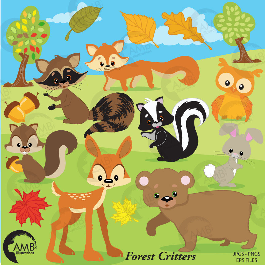 png free Critters clip art woodland. Forest animal clipart