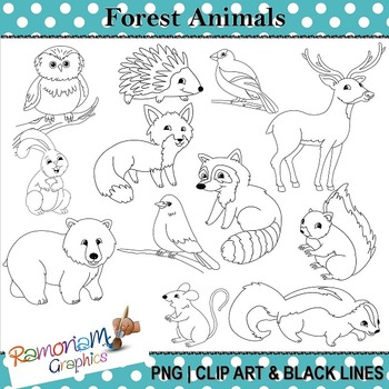 freeuse download Forest animal clipart black and white. Animals clip art