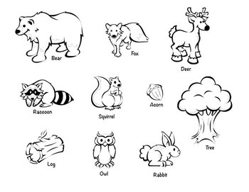 clipart freeuse Clip art package animals. Forest animal clipart black and white