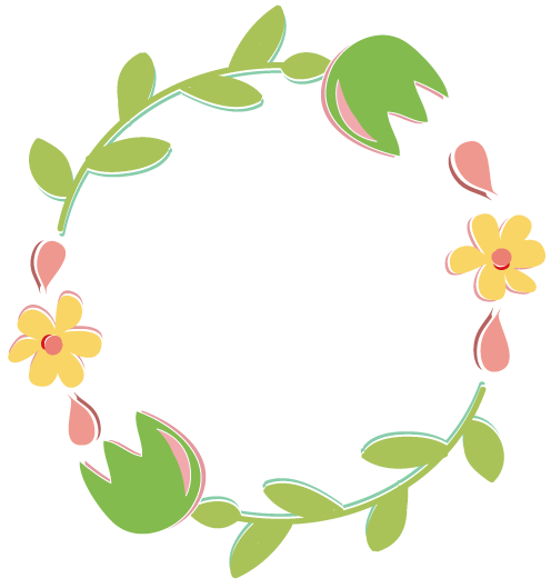 png black and white library Flower wreath clipart. Spring