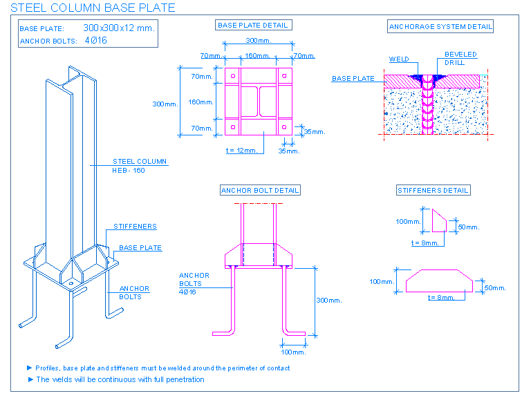 download Bolts drawing foundation. Foundations detallesconstructivos net steel