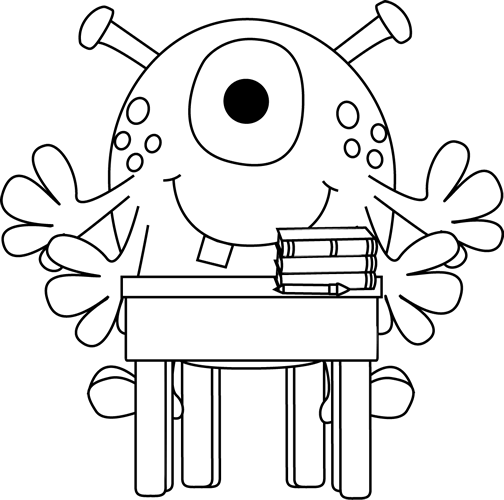 freeuse Arm clipart black and white. Four monster at a