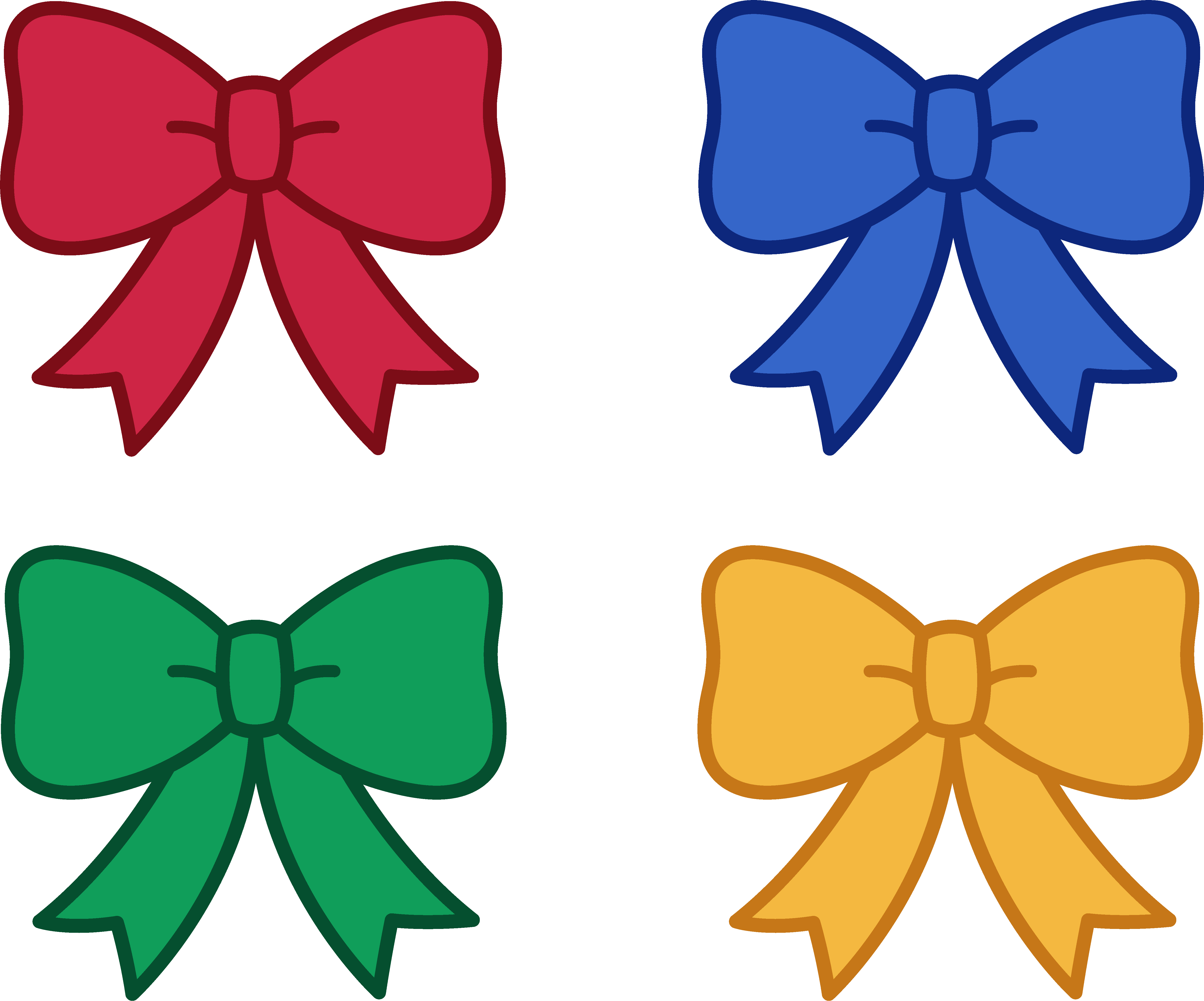 vector freeuse library Four clipart object. Cute christmas bows free