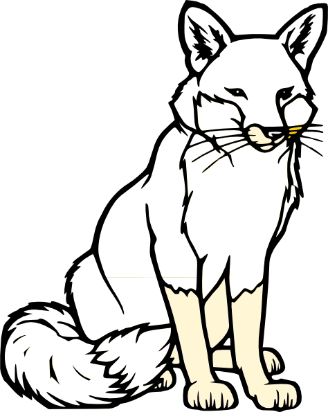 transparent stock Fox clipart black and white. Sitting silhouette clip art