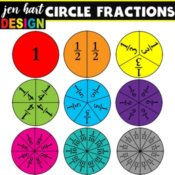 clipart black and white library Fractions clipart. Set circles .