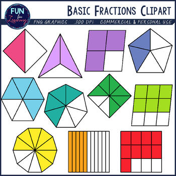 image transparent download Basic set halves through. Fractions clipart.