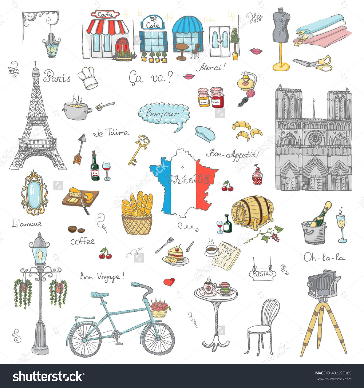 clipart black and white stock France drawing. Set of hand drawn