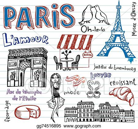 clip freeuse stock France drawing. Vector art symbols as