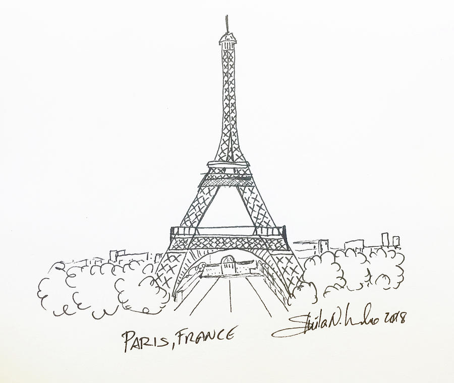 clip black and white library Paris . France drawing