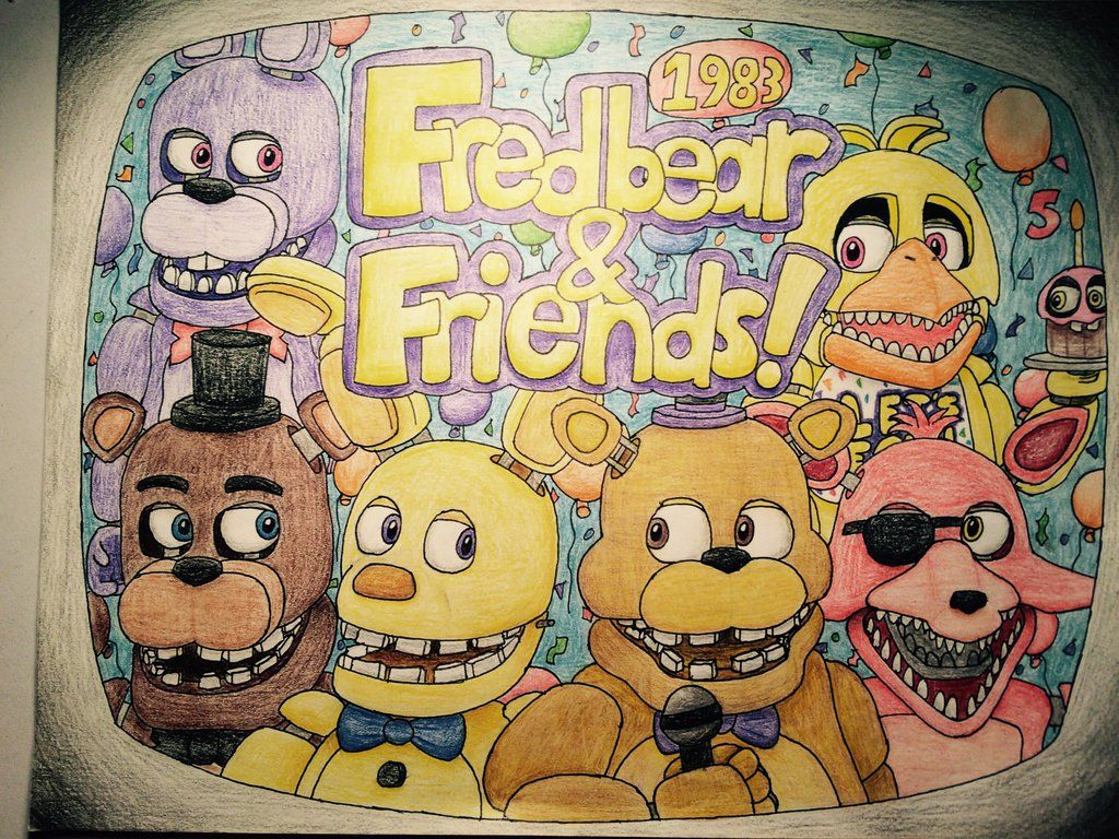 jpg library library And friends fnaf drawings. Fredbear drawing