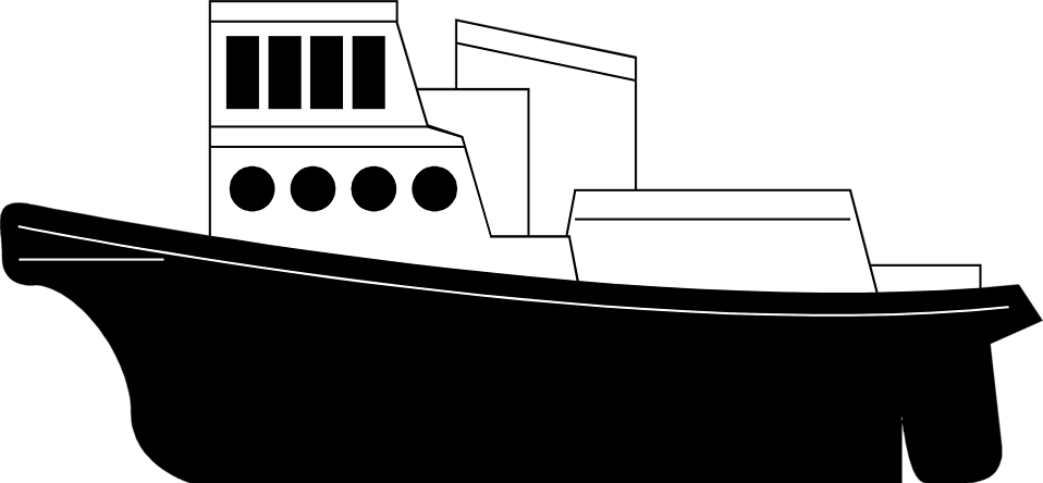 clip art download tugboat drawing black and white #117671577