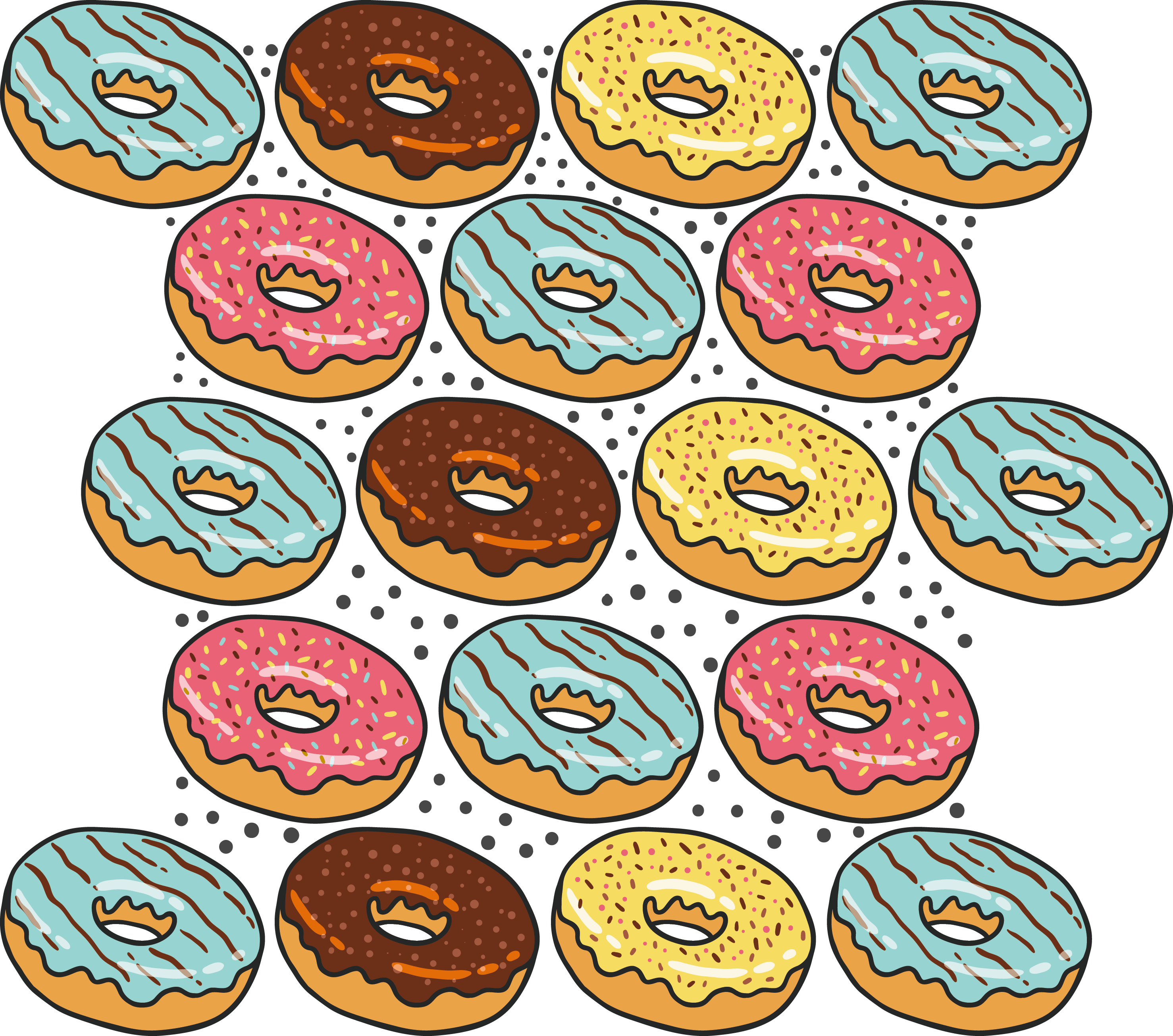 clip art black and white library Vector donut pattern. Bread poster clip art