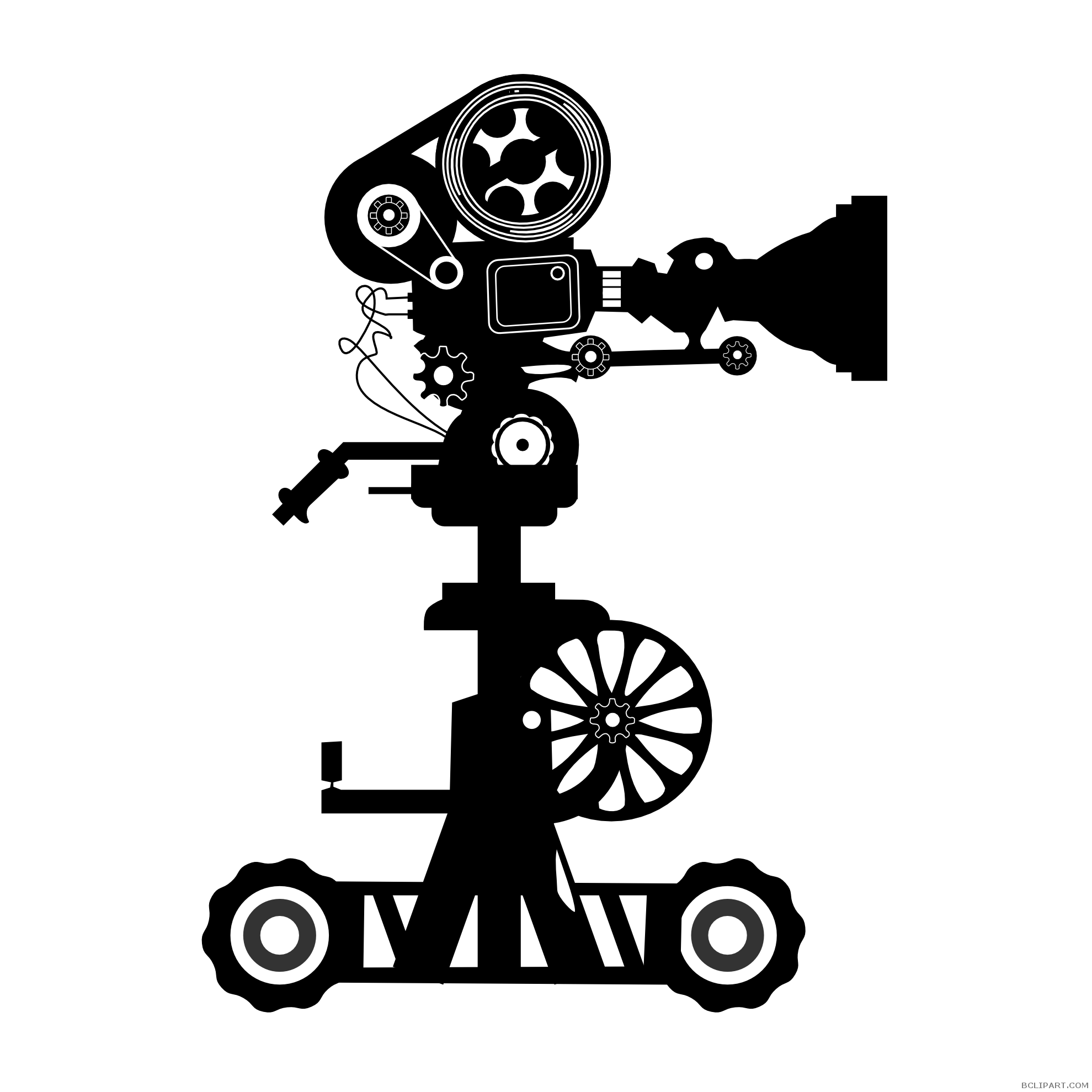 clipart black and white Movie Camera Silhouette Clipart