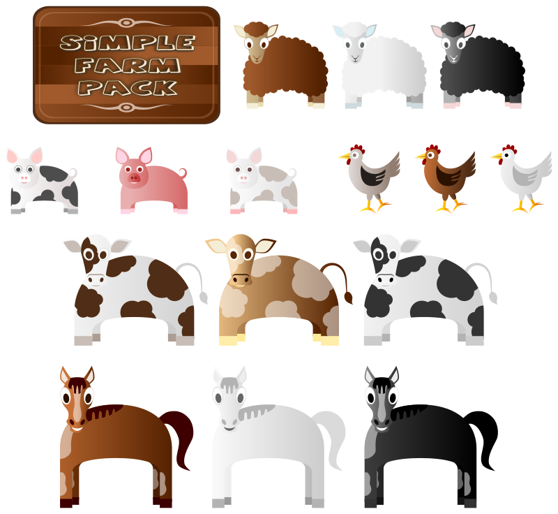 clip transparent Simple animals medium image. Free farm animal clipart