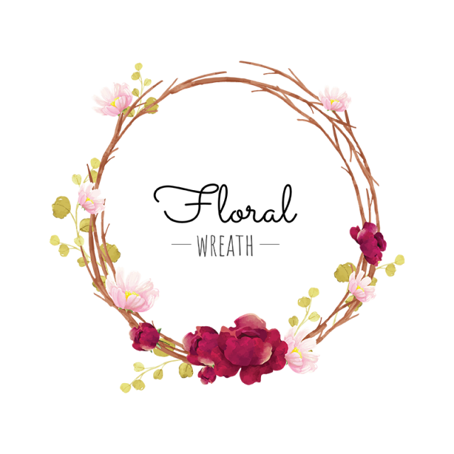 clip transparent library Free floral wreath clipart. Flower red png and
