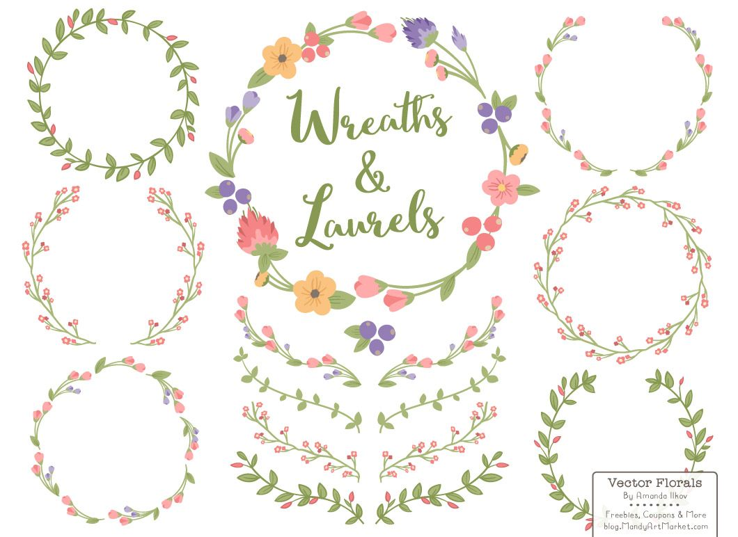 clipart freeuse stock Free floral wreath clipart. New august freebie vectors
