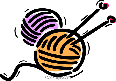jpg black and white library Knitting Clipart
