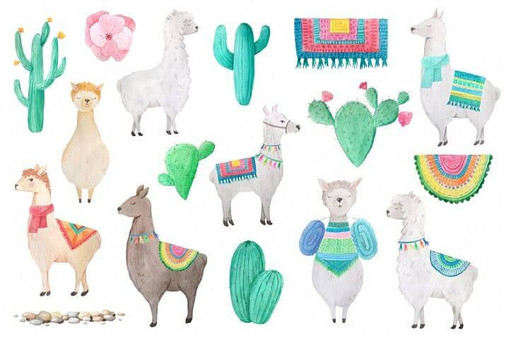 banner black and white stock Free llama clipart. Watercolor illustrations bundle .
