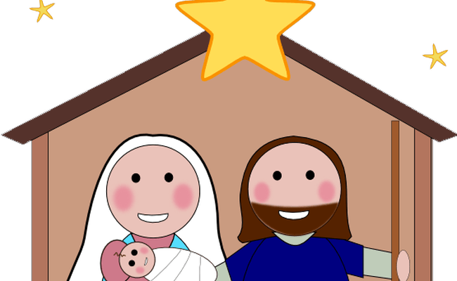 svg black and white stock Free manger scene clipart. Christmas nativity at getdrawings.