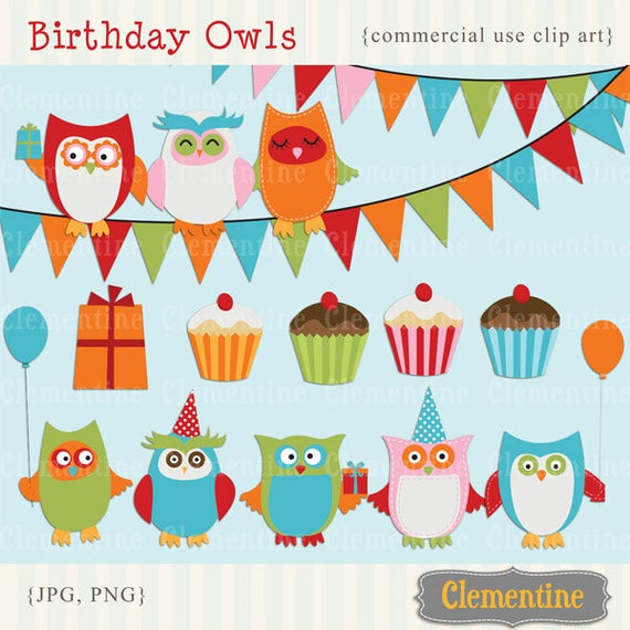 png freeuse Owl clip art birthday. Free printable clipart commercial