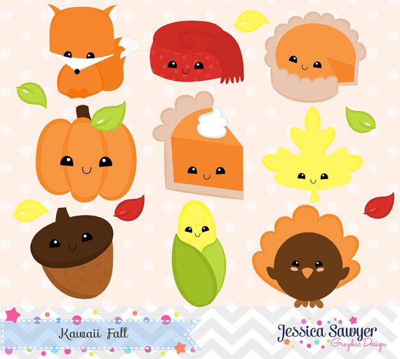 clip transparent Free printable clipart commercial. Instant download kawaii fall