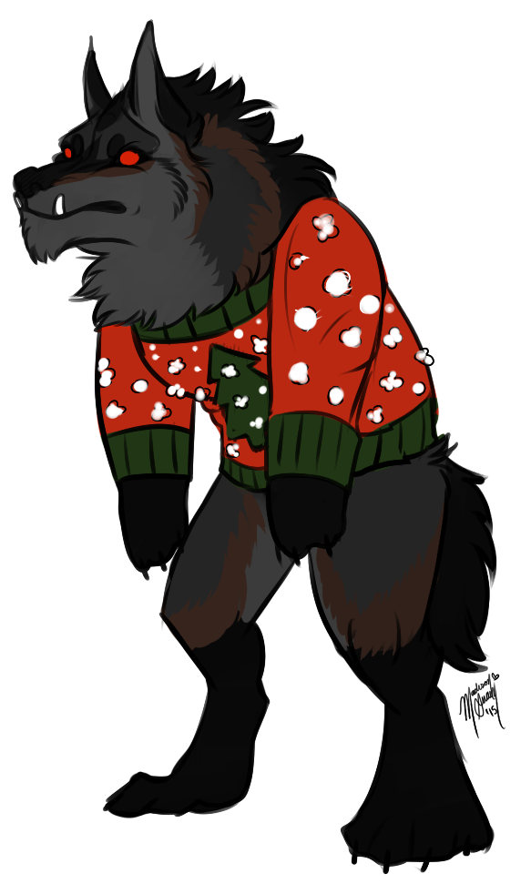 picture library Incoming ych werewolf christmas. Free ugly sweater clipart