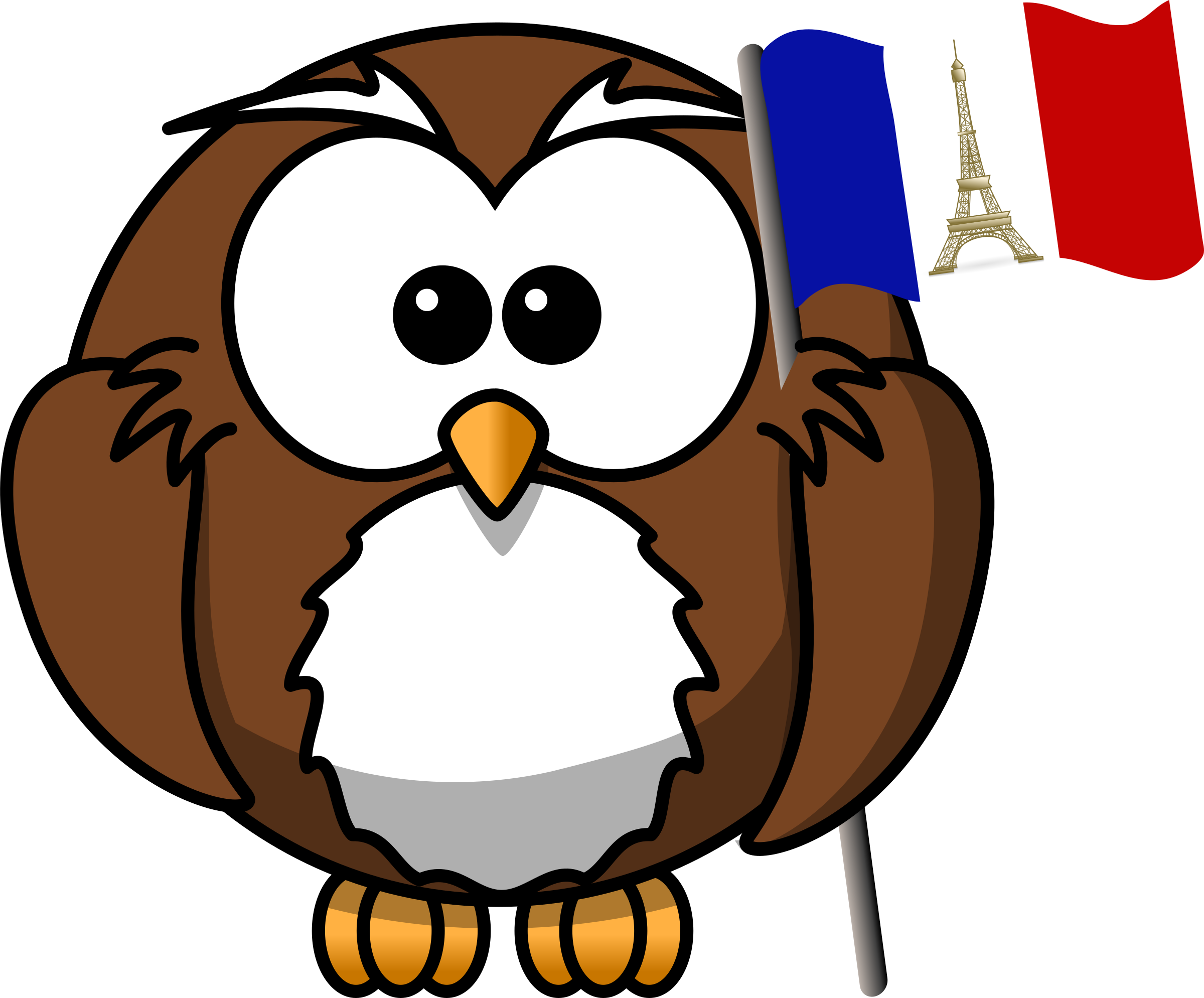 picture library download French clipart. Owl with flag big.