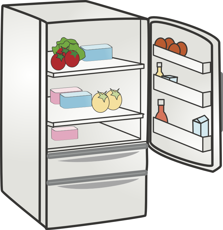 png freeuse stock Kitchen cartoon refrigerator transparent. Fridge clipart.