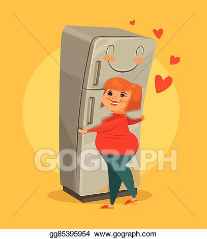 library Fridge clipart hugging. Vector illustration fat woman