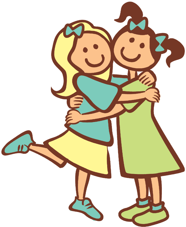 clipart black and white library Clipart Hugs Friends clipart free download