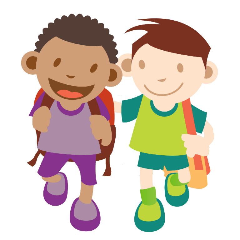 banner stock Kids to school children. Kid walking clipart