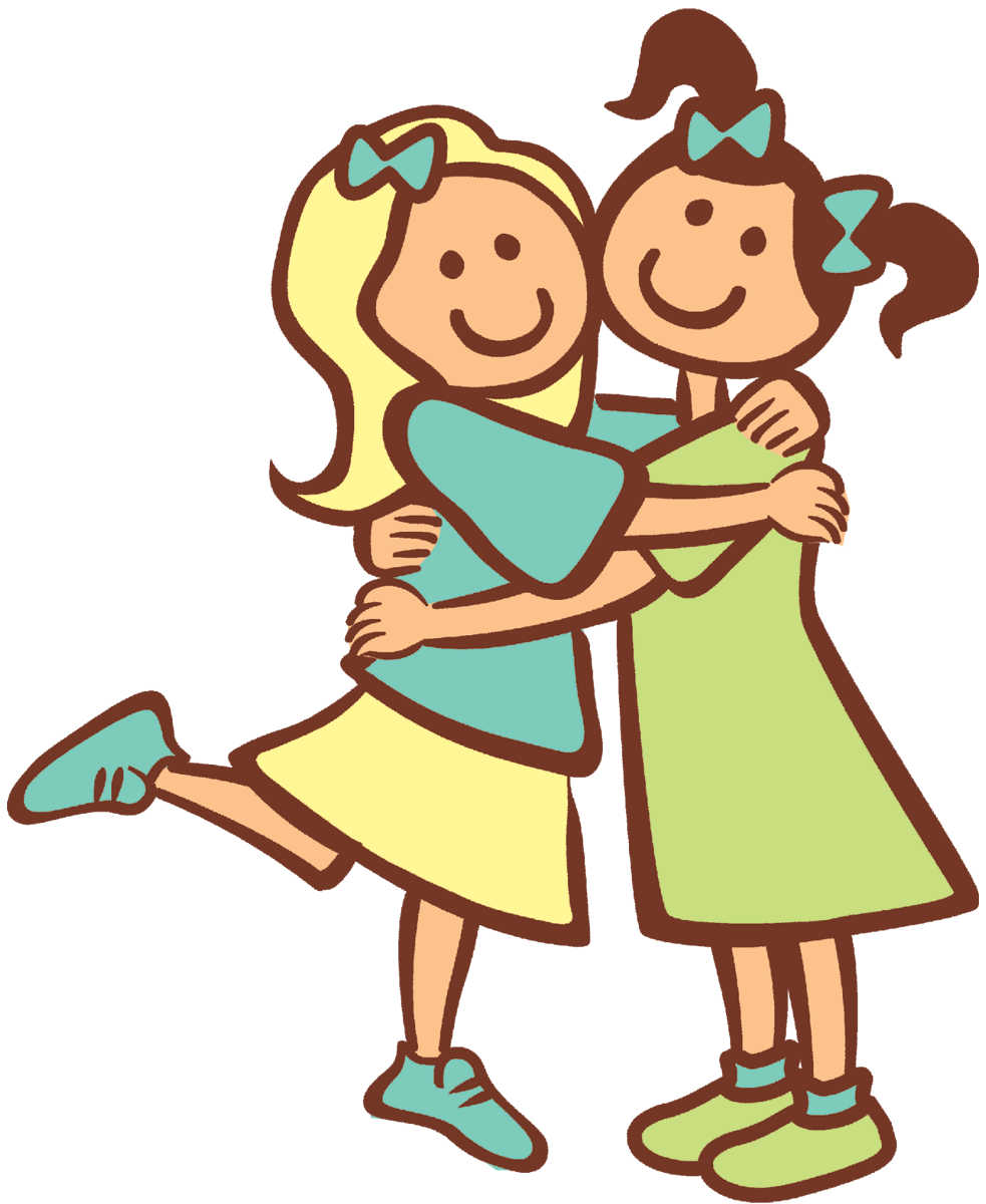 svg black and white library Kids hugging clipart. Free special friends cliparts