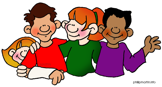 royalty free library Teaching my friends may. Kids working in groups clipart.