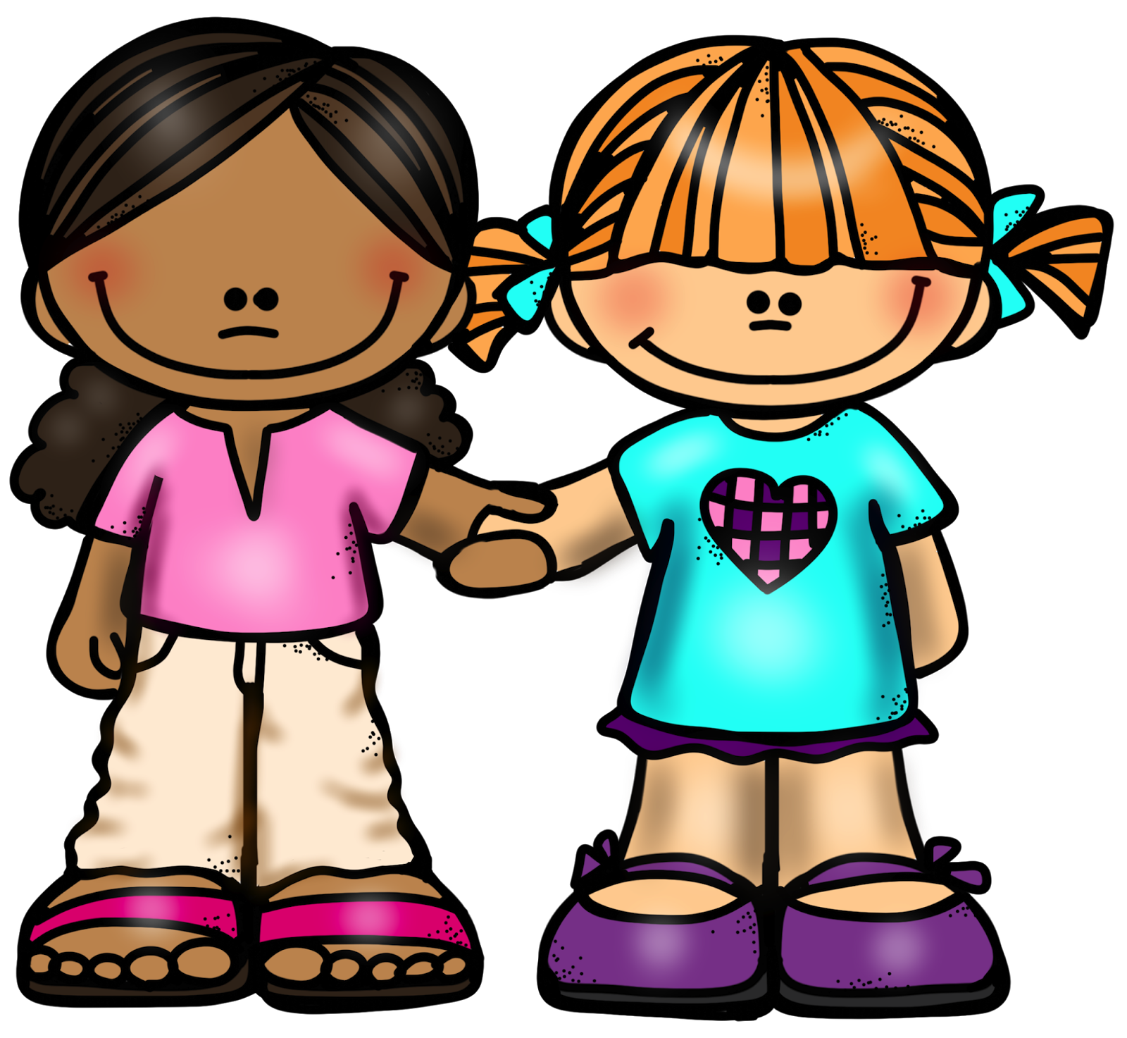png transparent Girl friends holding hands. Clipart kids talking